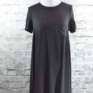 Lularoe LLR Carly Dress Solid Black Hi Low Dress